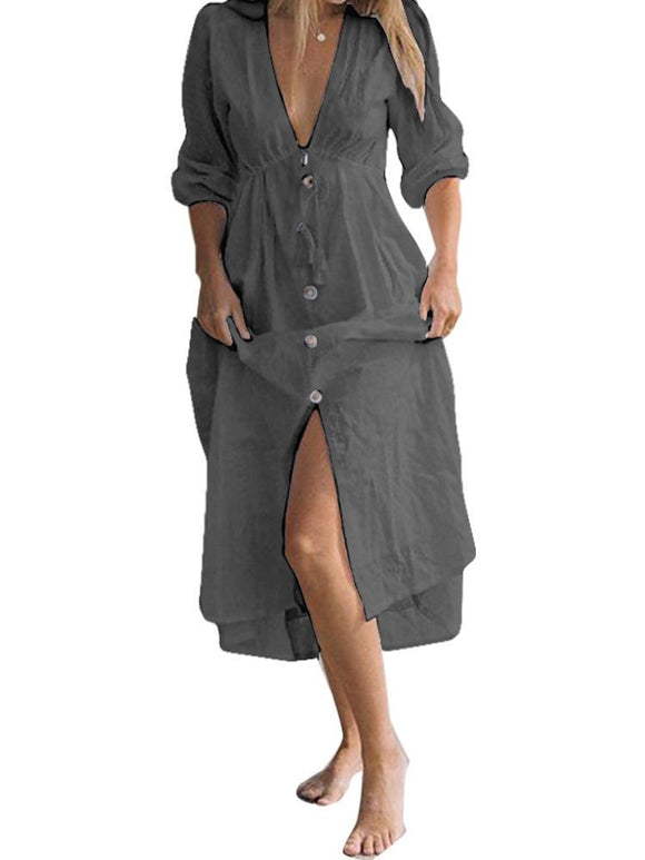 Women Solid Color 3/4 Sleeve V Neck Maxi Long Shirt Dress SALE