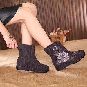 Embroidered Flower Fur Lining Cotton Ankle Boots