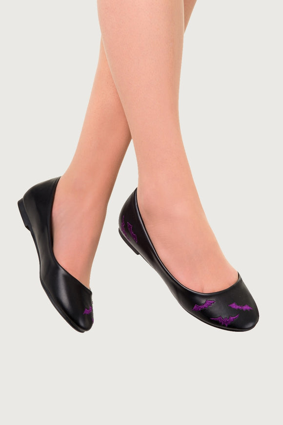 Banned Apparel - Black and Purple Bats Ballerina Flat Shoes - Egg n Chips London