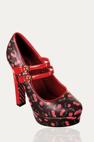 Banned Apparel - Billy Joe Cherry Design Platform Shoes