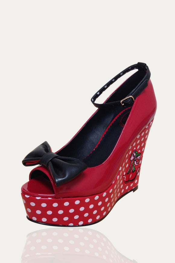Banned Apparel - Red Cherry Open Toe Wedge - Egg n Chips London
