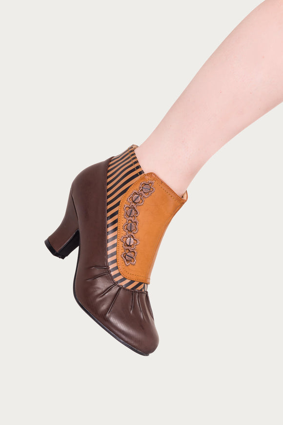 Banned Apparel - Tan Gloria Vintage Studded Boots - Egg n Chips London