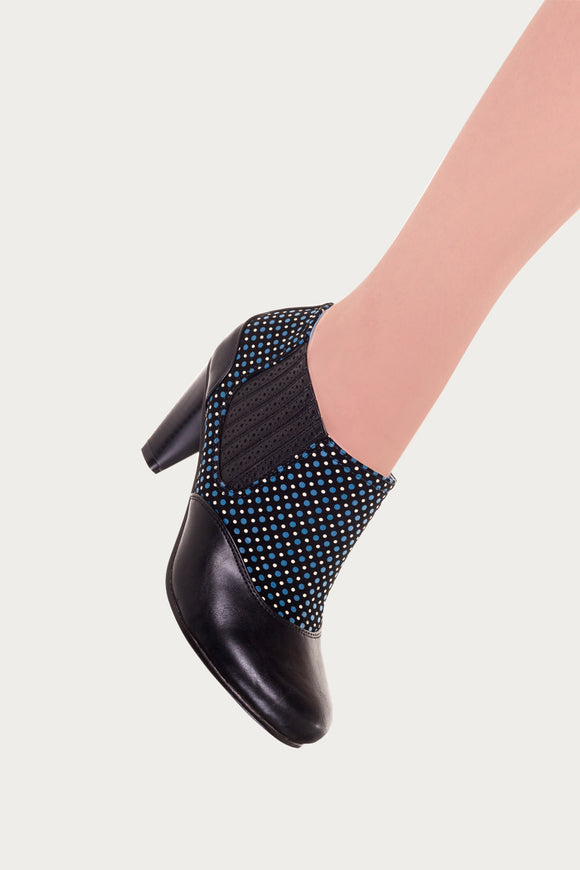 Banned Apparel - Black Marion 80's Polkadot Boots - Egg n Chips London