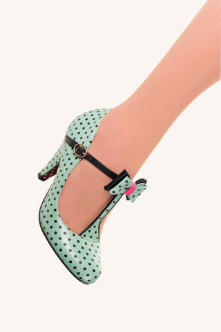 Banned Apparel - Mint Marilyn Strappy Polkadots Shoes