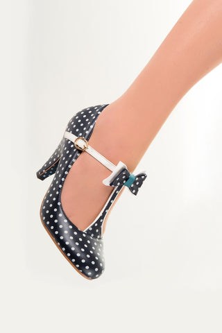 Banned Apparel - Navy Marilyn Strappy Polkadots Shoes