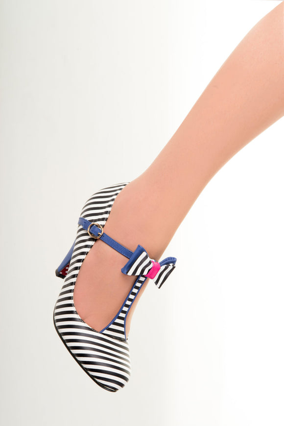 Banned Apparel - Nautical Marilyn Strappy Striped Shoes - Egg n Chips London