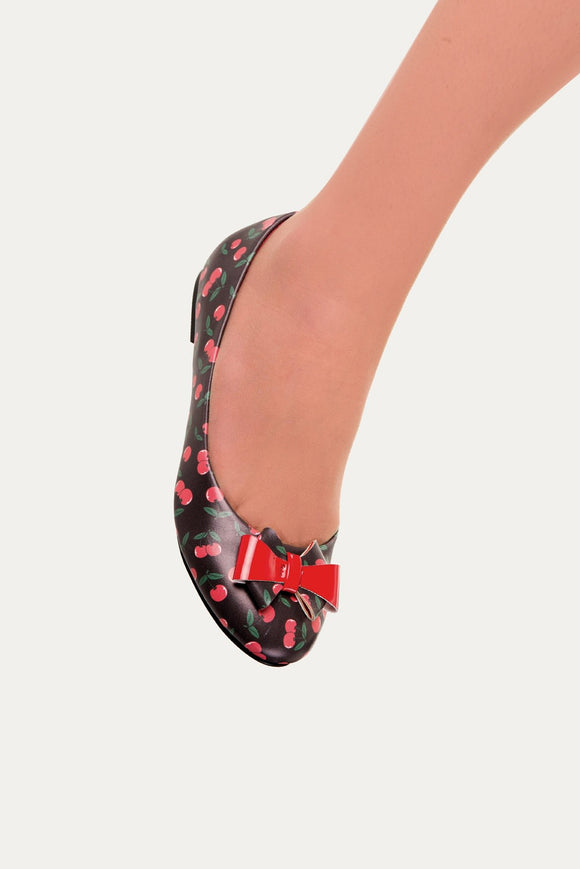 Banned Apparel - Cherry Marigold Cherry Print Flats - Egg n Chips London