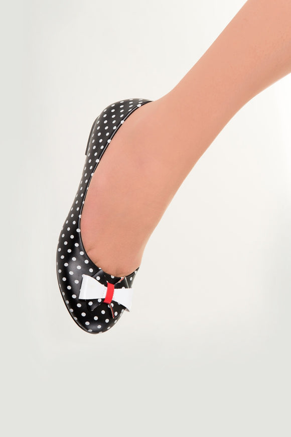 Banned Apparel - Black Marigold Polkadots Flats - Egg n Chips London