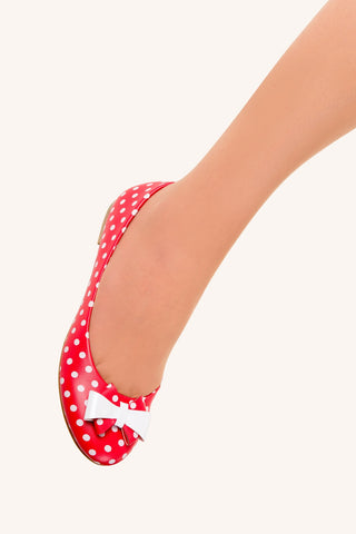 Banned Apparel - Red Marigold Polkadots Flats