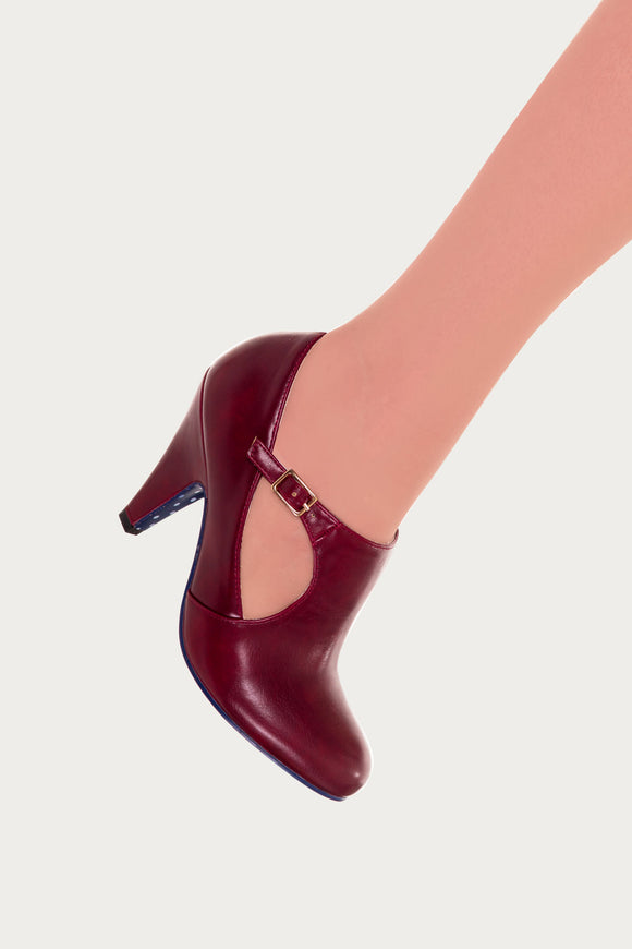 Banned Apparel - Bordeaux Penny Asymmetrical Strap High Heels - Egg n Chips London