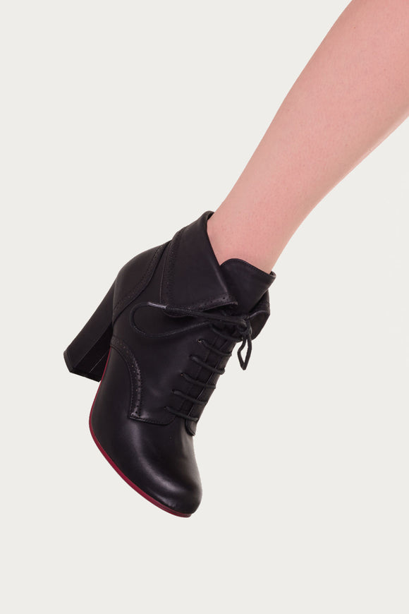 Banned Apparel - Black Lauren Collared Style Boots - Egg n Chips London
