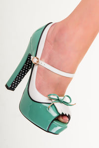Banned Apparel - Mint June Open Toe Kitten Heels - Egg n Chips London