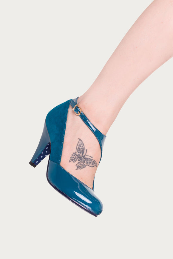 Banned Apparel - Teal Blue Penny Asymmetrical Strap High Heels - Egg n Chips London