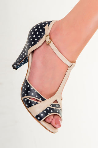 Banned Apparel - Navy Norma Polkadots Dancing Shoes
