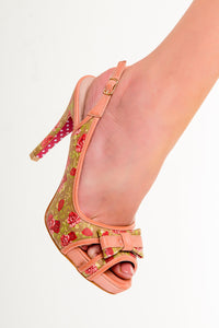 Banned Apparel - Peach Marylou Polkadots Strappy Dancing Shoes - Egg n Chips London