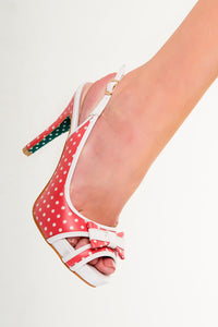 Banned Apparel - Red Marylou Polkadots Strappy Dancing Shoes - Egg n Chips London
