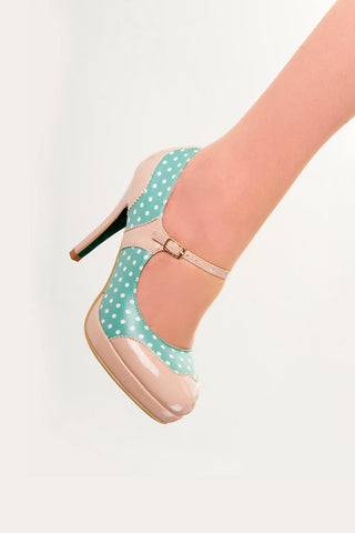 Banned Apparel  - Mint MaryJane Floral Pump