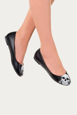 Banned apparel - Black Skull Ballerina Flats