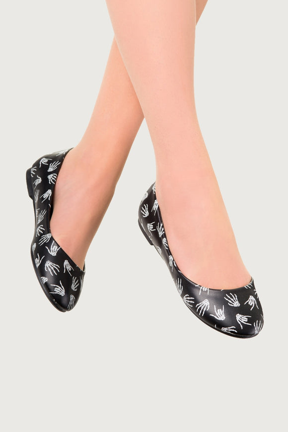 Banned Apparel - Black Skeleton Hands Ballerina Flats - Egg n Chips London