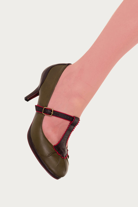 Banned Apparel - Khaki Rose Lee Pretty Kitten Heels - Egg n Chips London