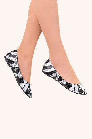 Banned Apparel - Black Ribcage Ballerina Everyday Flats