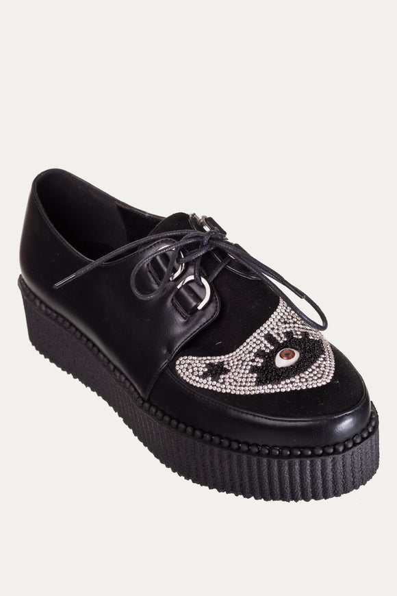 Banned Apparel - Black Piper Beaded Creeper Shoes - Egg n Chips London