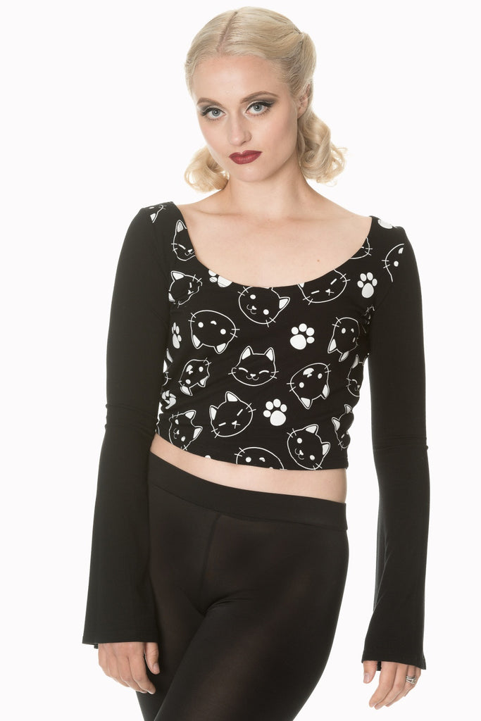 Banned Apparel - Purrrrfect Kitty Flare Sleeve Top - Egg n Chips London