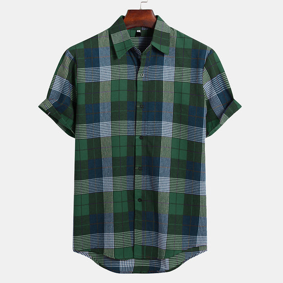 Men Slim Fit Short Sleeve Check Shirt