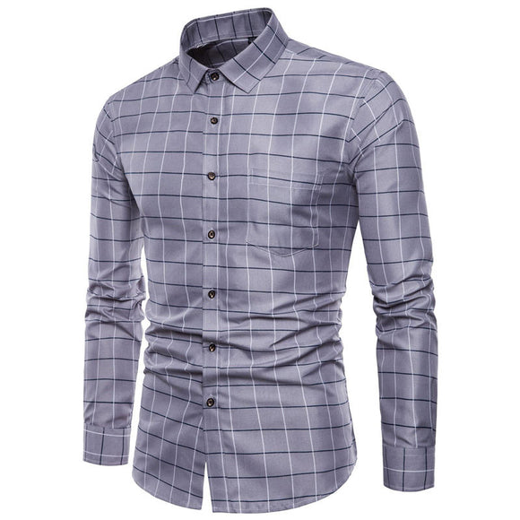Classic Plaid Slim Fit Long Sleeve Button up Dress Shirt