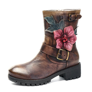 SOCOFY Comfy Handmade Flower Buckle Ankle Leather Boots