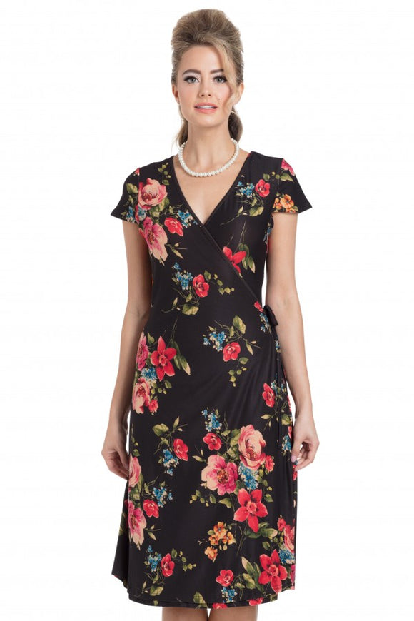 Voodoo Vixen - Sophia Black Floral Wrap Dress