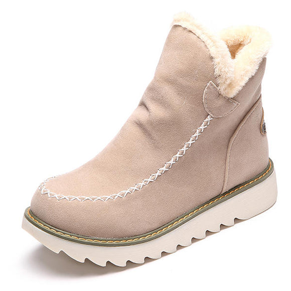 LOSTISY Pure Color Warm Fur Lining Winter Ankle Snow Boots