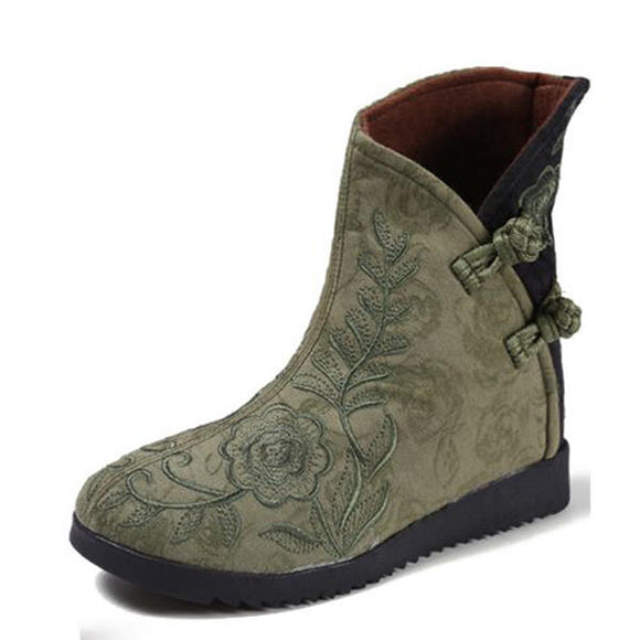 Embroidery Cotton Cloth Boots Flower Casual Shoes