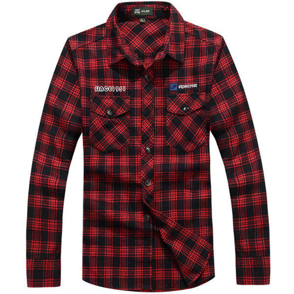 Loose Spring Autumn Grid Shirts Turn-down Collar Long-sleeved Plaid Tops