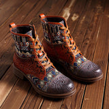 SOCOFY Jacquard Splicing Pattern Leather Zipper Lace Up Ankle Boots
