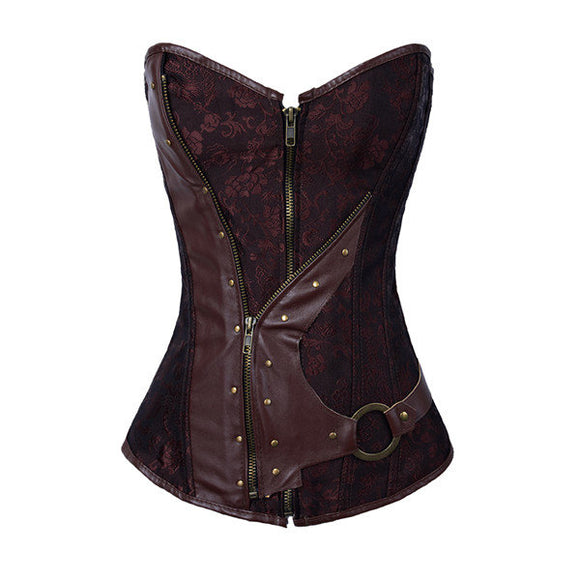 Women Brown Brocade Steampunk Gothic Waist Trainning Corselet Bustiers
