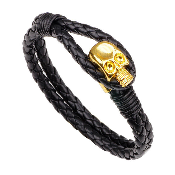 Gold Skull Leather Wrap Chain