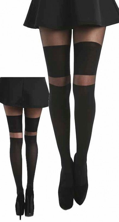 Pamela Mann - 2  Stripe Wide Over The Knee Tights - Egg n Chips London
