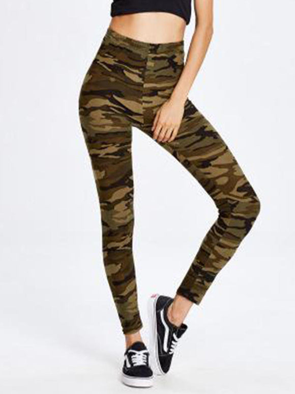 Casual Camouflage Workout Calf-Length Leggings Fitness Jogging Pants