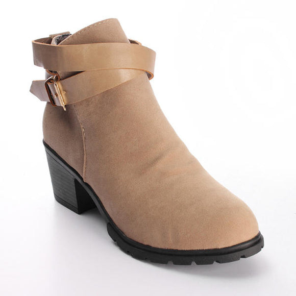 Buckle Strap Faux Suede Block Mid Heel Ankle Boots