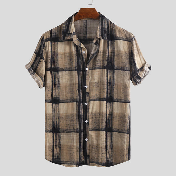 Mens Summer Plaid Printed Breathable Turn Down Collar Loose Casual Shirt