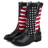 Women Slip On Cloth Pattern Mid-calf Boots