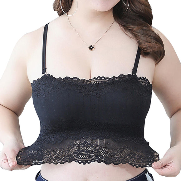 Plus Size Lace Racerback Bralette Wireless Full Coverage Summer Bra