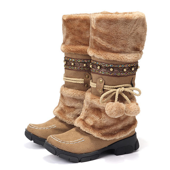 LOSTISY Large Size Fluffy Keep Warm Winter Snow Boots