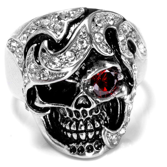 Skull Head Zircon Ring for Men