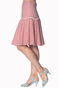 Banned Apparel - Ditsy Daisy Red Skirt