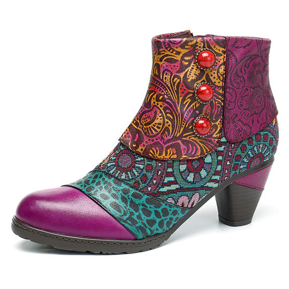 SOCOFY Bohemian Splicing Pattern Button Zipper Ankle Leather Boots