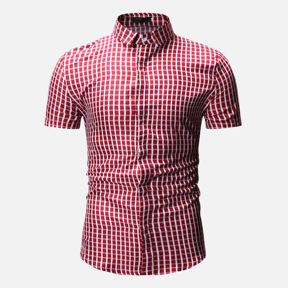 Men Plaid Short Sleeve Casual Button Up Shirt