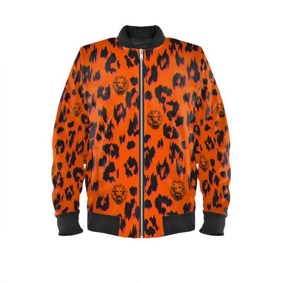 Orange Leopard Bomber Jacket
