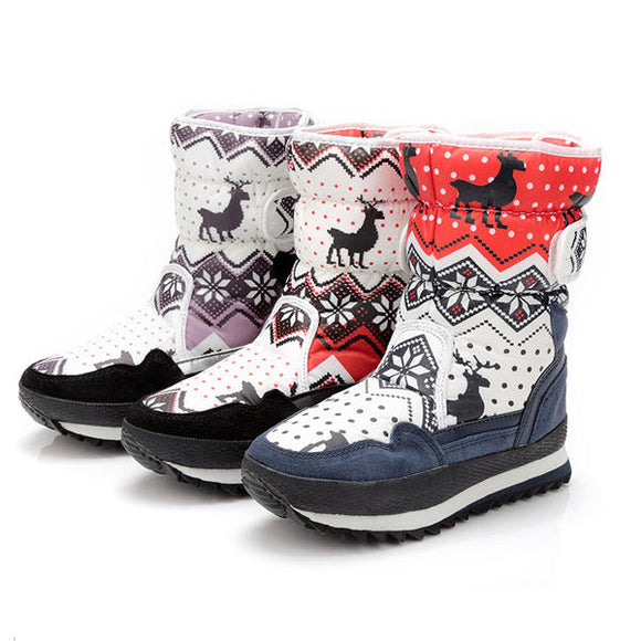 Pattern Match Warm Wool Lining Hook & Loop Round Toe Snow Mid-Calf Boots